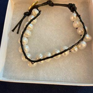 Jewelry - SALE!  Fresh water pearls Leather bracelet.